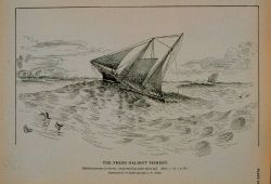 Halibut schooner in winter, head-reaching under short sail Drawing by H Photo