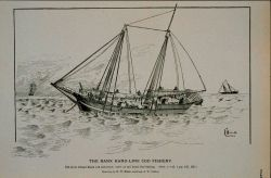 Old style Grand Bank cod schooner; crew at rails hand-line fishing Drawing by H Photo
