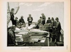 Baiting trawls on deck of Gloucester haddock schooner Mystic, Captain McKennon From photograph by T.W Photo