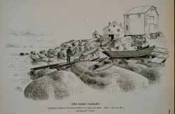 Fishermen's dories on the rocks at Folly Cove, Cape Ann, Massachusetts Drawing by H Photo