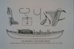 Seine boat; purse davit with blocks; oar-rests Purse weight and purse blocks; bow fittings Photo