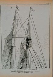 Lookouts aloft on schooner on the watch for mackerel Drawing by H Photo