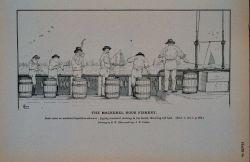 Deck scene on mackerel hand-line schooner Jigging mackerel, slatting in the barrel, throwing toll-bait Drawing by H Photo
