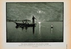 Shad-fishing at night on the Susquehanna River; laying out the gill-net From a photograph Photo