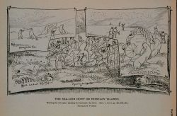 Shooting the old males; spearing the surround; the drive Drawing by H Photo