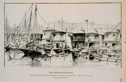 Oyster-barges at foot of West Tenth street, North River, New York City Drawing by Ernest Ingersoll Photo
