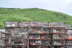 Crab traps with associated gear at Dutch Harbor. Photo