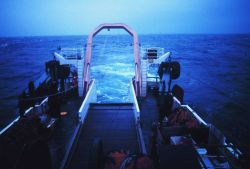 Trawling operations on the NOAA Ship MILLER FREEMAN. Photo