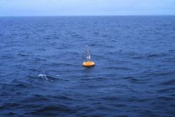 Servicing PEGGY, a meteorological and oceanographic buoy in the Aleutian Islands area. Photo