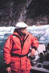 Chief Boatwain Nutting taking in the scenery in Tracy Arm. Photo