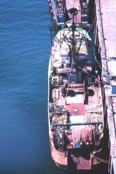 Overhead view of fishing vessel with gear Photo