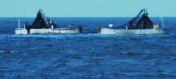 Purse seine boats setting nets to capture school of menhaden Photo