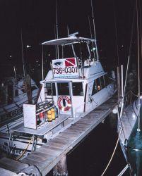 A charter dive boat moored at a marina Image