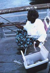 Fishing for spot (member of the croaker or drum family) Photo