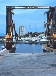 A lift used to raise small recreational fishing craft at San Juan Bay Marina. Image