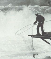 Salmon fishing with large loop nets by Native Americans Photo
