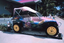 A gaudy dune buggy advertising a Florida Keys motel Image
