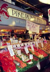 Most seafood is sold through markets, like Seattle's Pike Place Market, or directly to processors and purveyors Photo