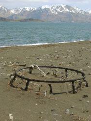 A derelict crab pot on an Aleutian Island Beach Photo