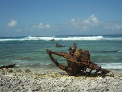 World War II debris? Remains of a shipwreck? An otherwise pristine reef is besmirched with marine debris. Photo