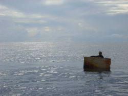 An experiment in flotation proves an abandoned refrigerator could serve as a lifeboat in dire circumstances Photo