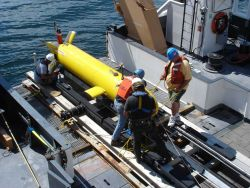 Testing the Eagle Ray AUV ( Autonomous underwater vehicle) from the NOAA Ship HENRY BIGELOW Photo