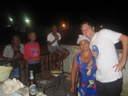 Maxfield Weiss, NOAA International Affairs Specialist (contractor), at a local Sao Tomean restaurant. Photo