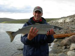 An adult Atlantic salmon from one of the world's most productive rivers, the River Teno in northern Norway. Photo