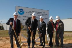 Deputy Assistant Administrator for NMFS, John Oliver, on right, and various dignitaries at groundbreaking ceremony for new Pascagoula fisheries labora Photo