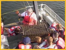 Students aboard the Catherine Moore school boat, a 56 foot research vessel Photo