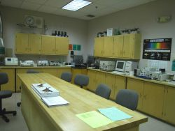 School laboratory with spectroscope and other measuring equipment for monitoring water chemistry and quality at Bridgeport Regional Vocational Aquacul Photo