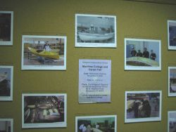 School bulletin board illustrating student activities in boatbuilding and at Bridgeport Regional Vocational Aquaculture School in Bridgeport, Connecti Photo