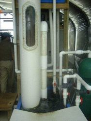 Filtration unit for greenhouse re-circulating system in aquaculture. Photo