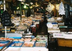A street market in Northern Japan in the early morning getting ready for sales. Photo