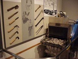 Display of handtools and sorting machine used in pearl culture in Japan at Toba Pearl Island where the first pearl culture in the world was developed  Photo