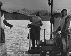 Marine biologists setting a plankton net. Photo