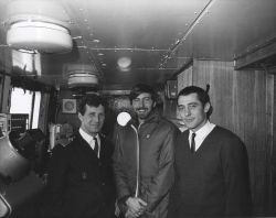 Captain Anatoly Maslenikov, NMFS biologist Perry Thompson, and Chief of Soviet Expedition Yuri M Photo