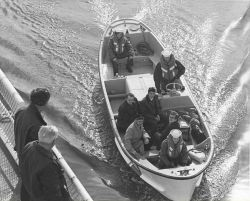 Soviet party approaching CGC CONFIDENCE for meeting in Womens Bay concerning halibut fishing. Photo