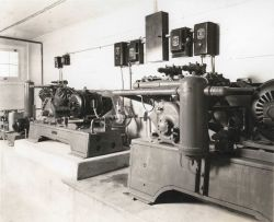 Refrigeration compressors at the Penguin Brand Frozen Lake Herring plant Photo