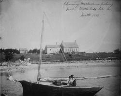 Cleaning mackerel on fishing boat, Little Deer Isle, ME, Worth, 1891. Photo