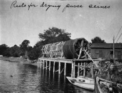 Reels for drying purse seines. Photo