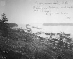 Wellington Collierys coal bunker and wharves, Departure Bay, 1889. Photo