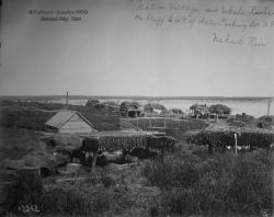 Albatross, AK, 1900, Bristol Bay district, native village and Ukala Rocks on bluff to west of Artic Packing Co., Naknek River. Photo