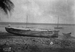 South Seas cruise, Albatross, 1899-1900, Paumotu Archipelago, Makerus Atoll, built up dugout canoe, Hepuhepuarua. Photo