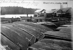 Chamberlin, AK, 1903, scow building, Loring, June. Photo