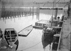 Chamberlin, AK, 1903, cannery dock Loring. Photo