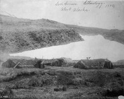 Sod houses, ethnology, Alert, AK, 1892. Photo