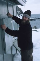 A seal researcher opening camp for the season at Cape Shirreff. Photo