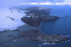 An aerial photo of the western shore entrance to Admiralty Bay Photo