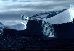 A tabular iceberg afloat in the Southern Ocean. Photo